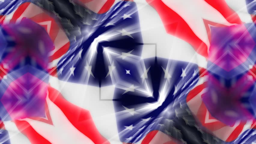 HD - American Flag 0208 - A kaleidoscopic American flag waves in the breeze (Loop).