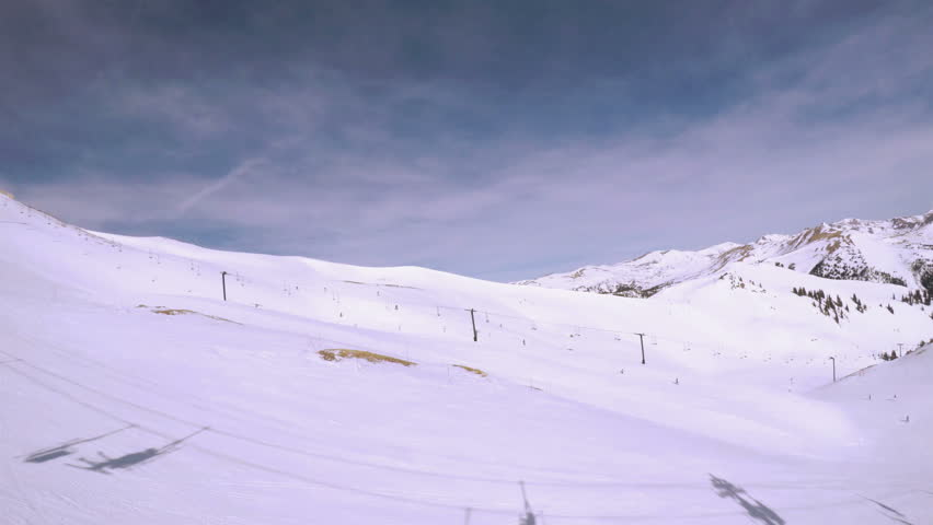 POV point of view - Early Spring skiing at Arapahoe Basin.