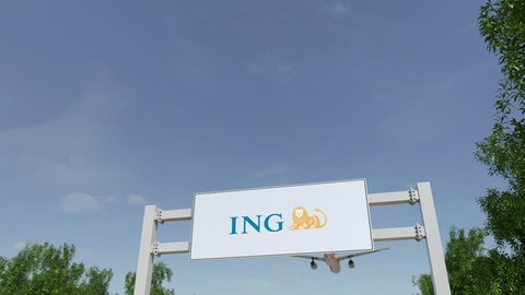 Airplane flying over advertising billboard with ING Group logo. Editorial 3D rendering 4K clip