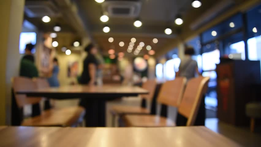 Blurred background of Restaurant and Coffee shop with vintage filter. Which including of people, table, chair and movement in shop.
