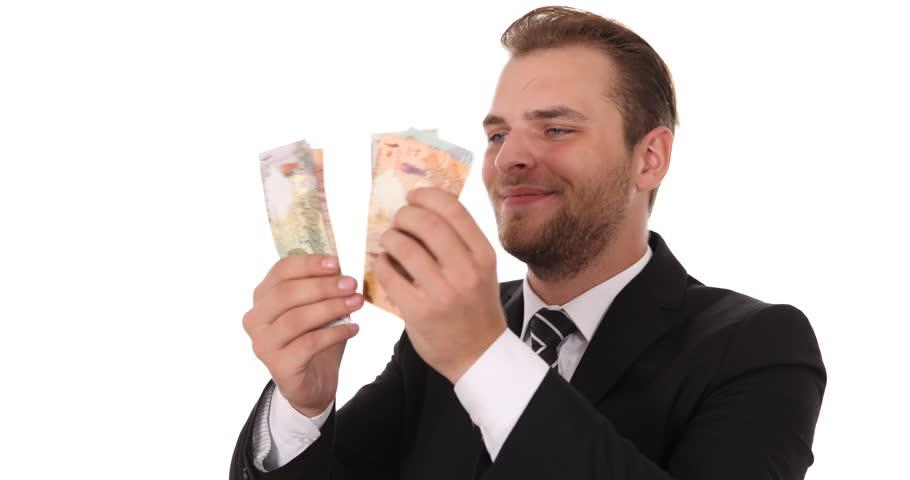 Banker Man Count Qatari Riyal Banknotes Money Payday Cash Income Salary Concept