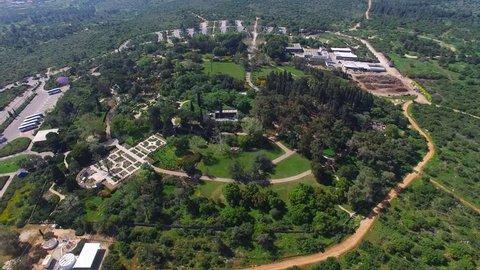 Baron Edmond James de Rothschild mausoleum at Ramat Hanadiv gardens - Aerial view.