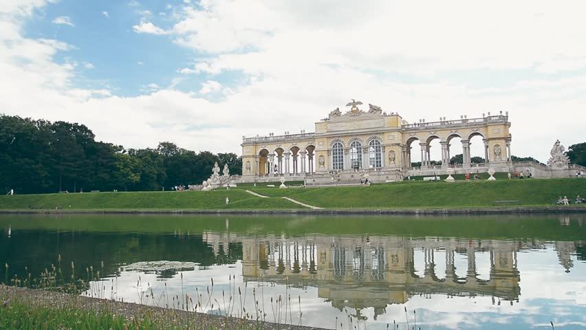 VIENNA, AUSTRIA, APRIL 10, 2017: Exterior shot of Gloriette inside the Schonbrunn Palace Garden, Vienna, Austria