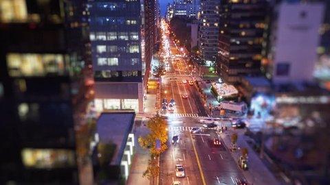New York city traffic timelapse. Evening city lights after sunset, tilt-shift.