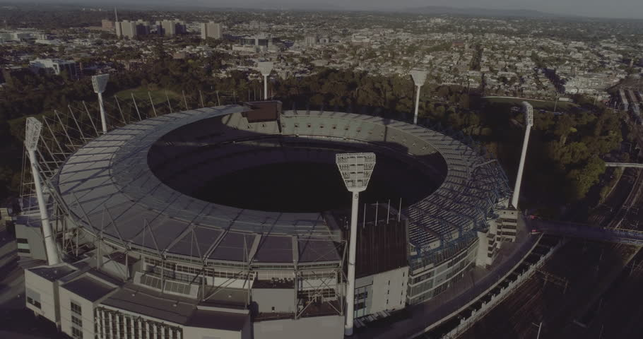 Melbourne Australia. March 23rd 2017: A high tilt aerial view over the Melbourne Cricket Ground with Melbourne city in the background. The MCG is Australian's biggest sports stadium.