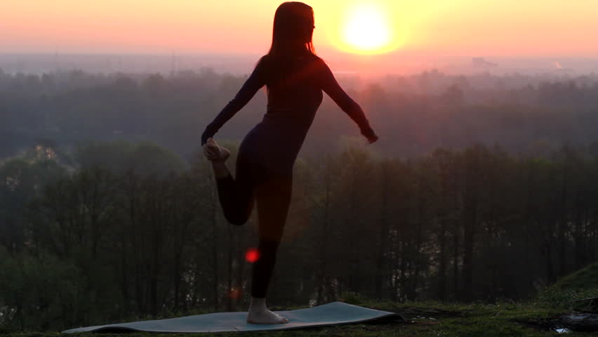 woman, yoga, nature