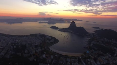 Rio de Janeiro sunrise shooting. Aerial view from  the sugar loaf mountains and panoramic view of the city.