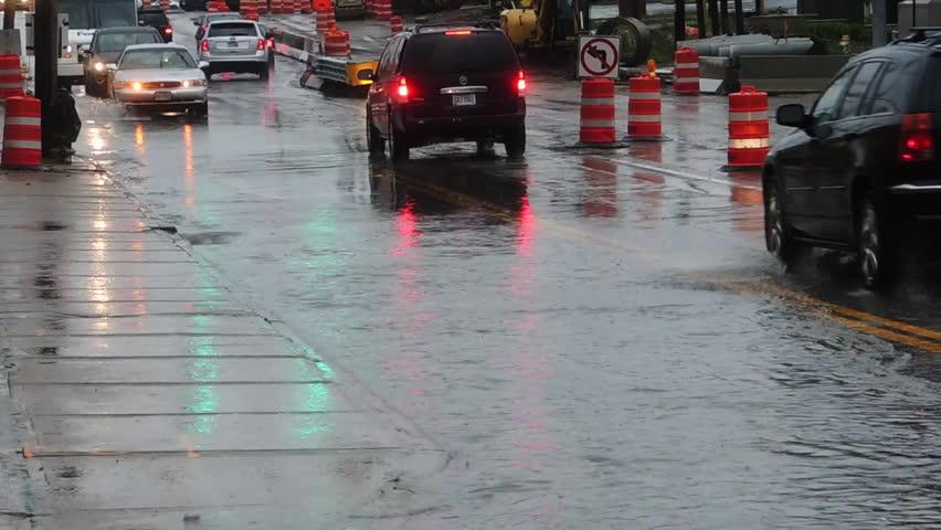Bike Car And Headlights On Wet Asphalt Stock Footage Video