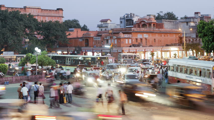 RASJASTHAN, INDIA - CIRCA MAY 2011: Traffic congestion and street life in the City of Jaipur