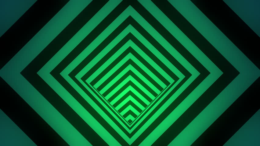 Animated hypnotic tunnel with black and glowing emerald green stripes. Seamless loop. 4K, UHD, Ultra HD resolution. More color options available - check my portfolio.