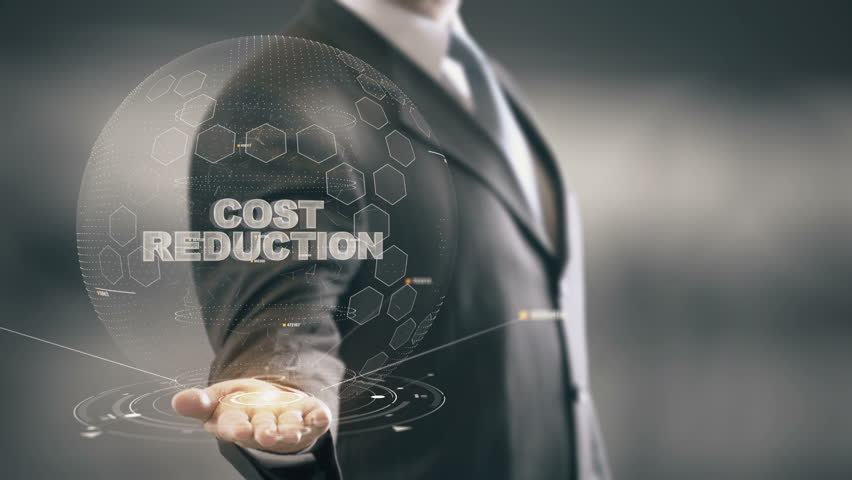 Cost Reduction with hologram businessman concept