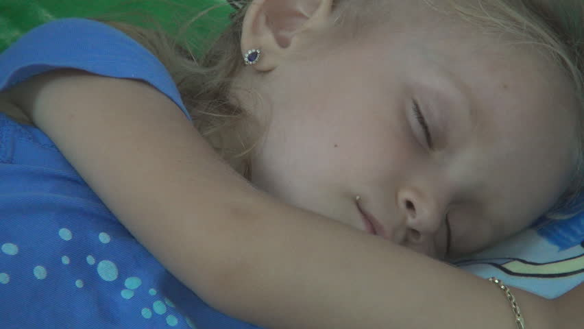 Child Sleeping, Little Girl Taking a Nap, Close Up
