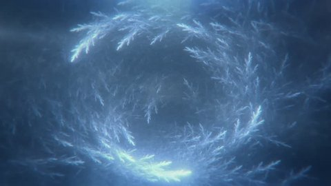 Dreamy Blue Crystals Swirling and Growing - Glowing Blue