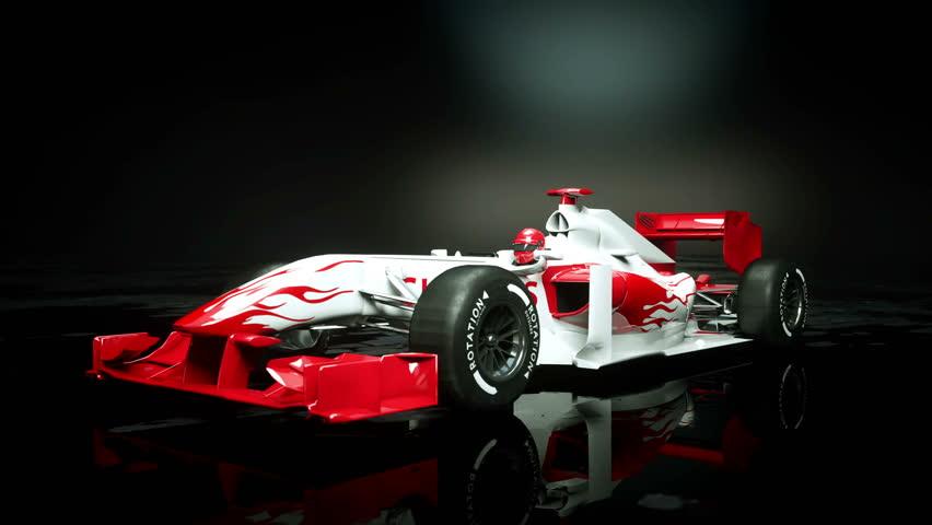 Race sport car in dark studio. realistic 4K animation. | Shutterstock HD Video #25925954