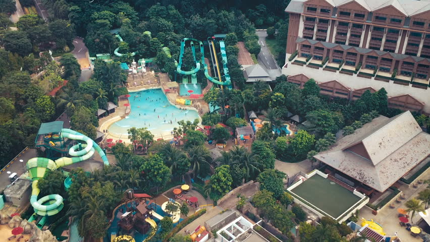 Pool in Sentosa island in Singapore filmed from cable car   Shutterstock HD Video #25928654