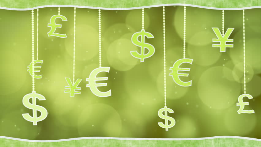 green currency signs dangling on strings loop background