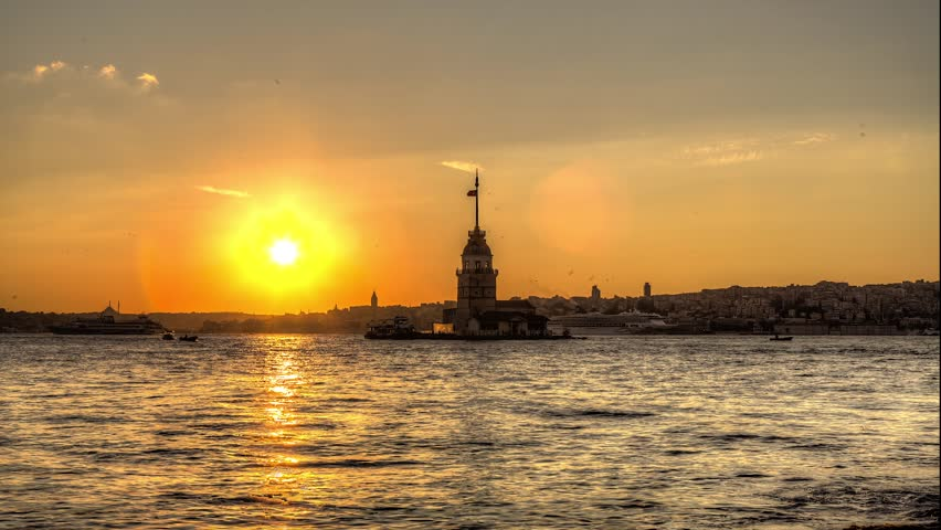 Time lapse of sunset behind the Maiden's Tower, Istanbul, Turkey