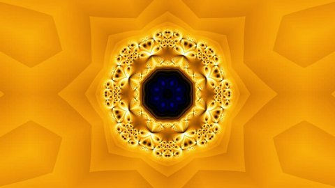 Golden kaleidoscope sequence patterns. Abstract multicolored motion graphics background. Or for yoga, clubs, shows, mandala, fractal animation. Seamless loop.
