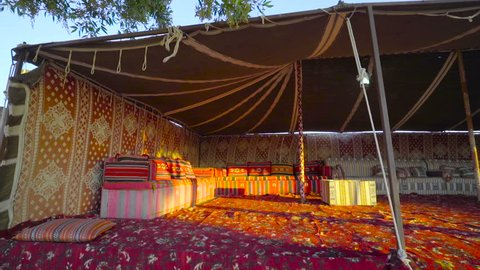 beduin place, sheic place, arabic home, oasis. Arabic House. Emirate House. Traditional, Qatari-style Bedouin tent.Arabian tent. flycam motion