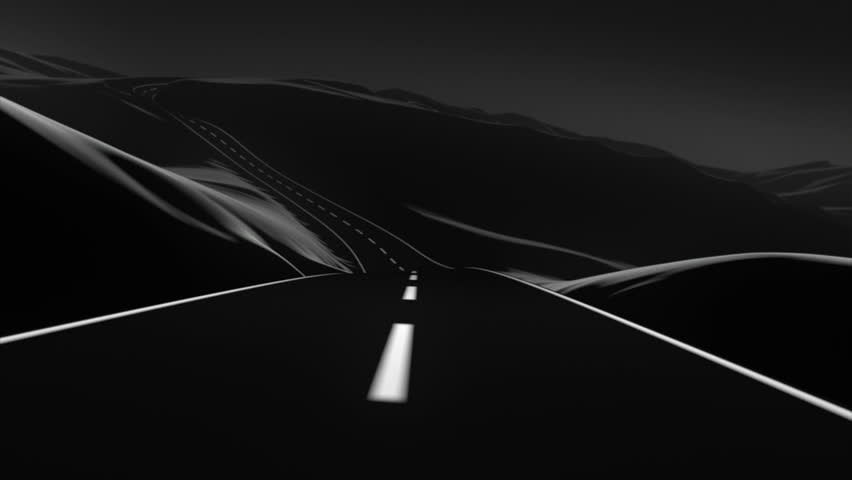Go on an abstract road trip through the mountains. It has a kind of vector art look, and a slight dose of depth of field and motion blur for a touch of realism. 3D animation. Black and white, sunset. | Shutterstock HD Video #2598953