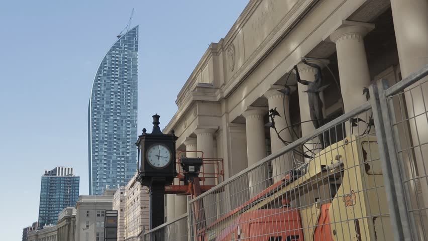 TORONTO, CANADA -OCTOBER 19, 2016: Built in 1873, Union Station is the country's busiest transportation hub, and has been undergoing major renovations recently to bring it into the 21st century.