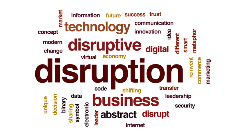 Disruption animated word cloud, text design animation.