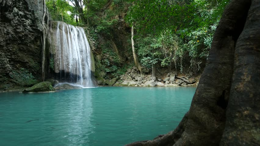Deep forest Erawan Waterfall at Erawan National Park,  Kanchanaburi Province, Thailand  | Shutterstock HD Video #26064044