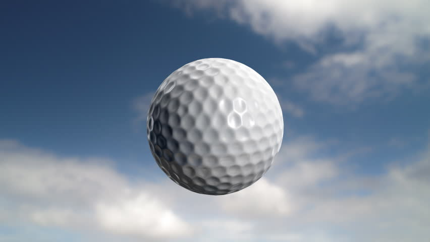 Golf ball flies at the camera then stops but carries on rotating. Last 200 frames (101-300) loop.