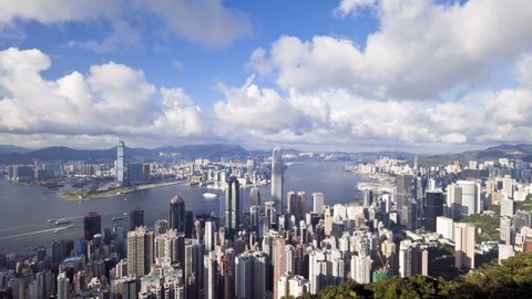 business district with Bank of China Tower, 2 International Finance Centre and Victoria Harbour
