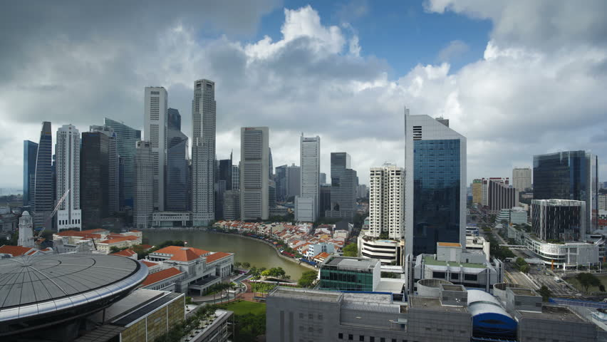 Skyline and Financial district at dawn, Singapore