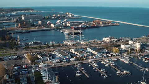 Aerial view of the harbor of Gdynia, Poland