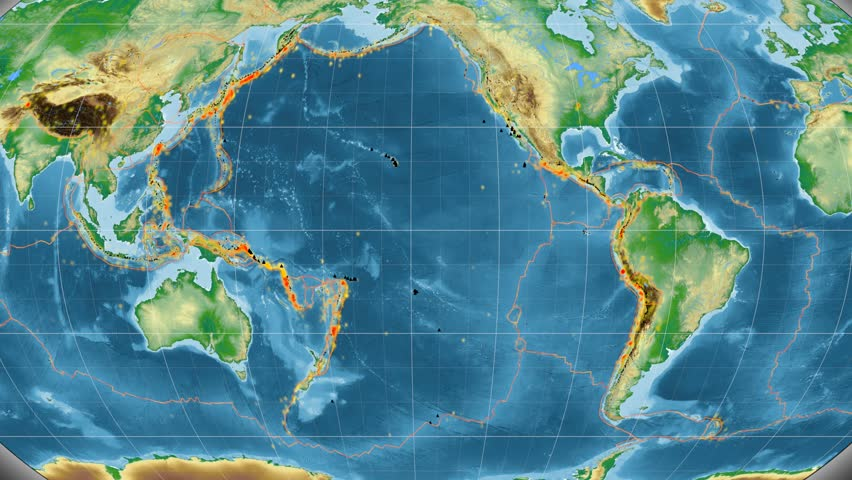 Pacific tectonic plate featured & animated against the global physical map in the Kavrayskiy VII projection. Tectonic plates borders (Peter Bird's division), earthquakes, volcanoes
