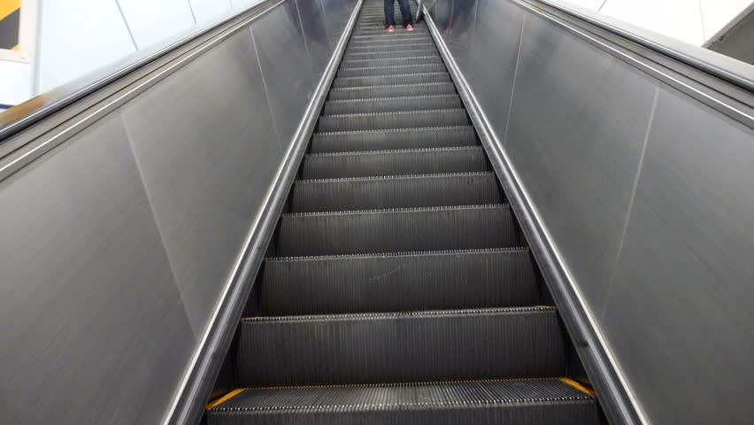 People Use Escalator   HD Stock Video Clip