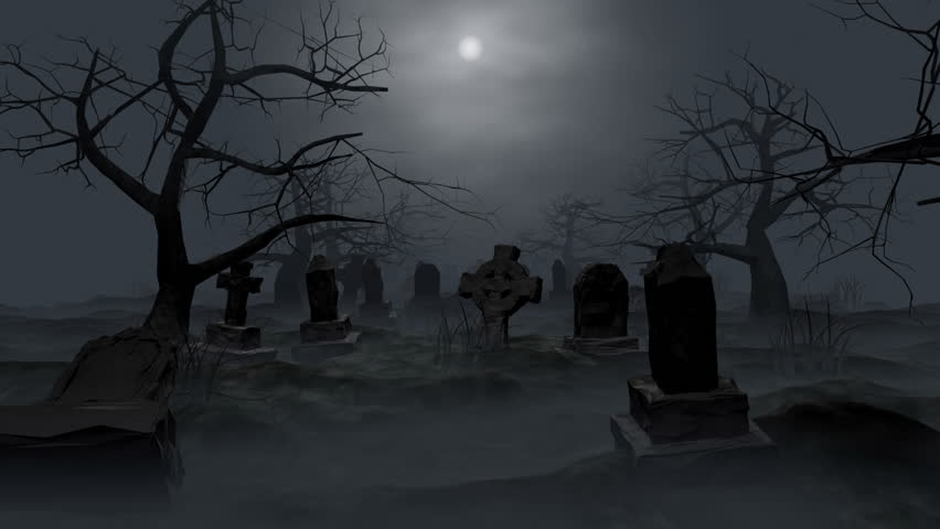 Graveyard Loop 3d Animation Walktrough Stock Footage Video 2617994