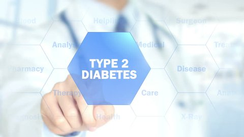 Type 2 diabetes, Doctor working on holographic interface, Motion Graphics