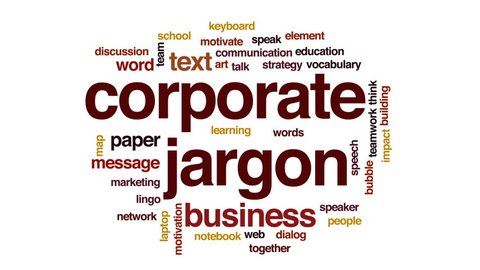 Corporate jargon animated word cloud, text design animation.