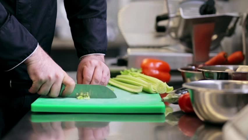 Time Lapse Of Hands Chopping Celery Cooking Salad Hd