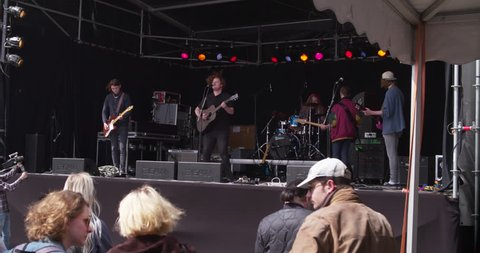 EINDHOVEN, NETHERLANDS - APRIL 27, 2017: Dutch band performing live on stage at  Kings day