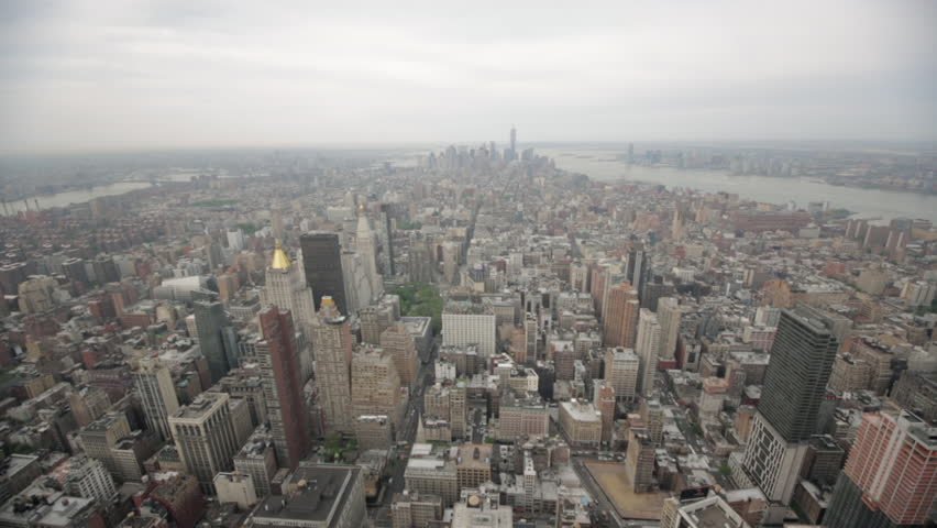 A wide angle overview of hundreds of high rises and skyscrapers in Manhattan, New York City, USA.  | Shutterstock HD Video #26295464