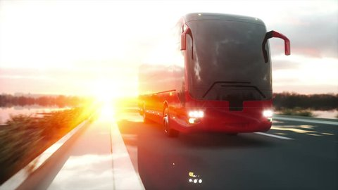 tourist red bus on the road, highway. Very fast driving. Touristic and travel concept. realistic 4k animation.