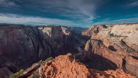 Time Lapse Observation Point Morning Over Zion Canyon