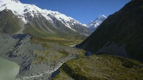 Mt Cook, New Zealand - Aerial view by drone flying over Hooker valley track, in Mt Cook National Park, New Zealand. Travel destination in Mt Cook, New Zealand.