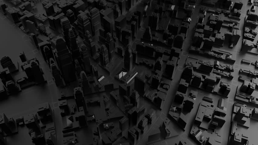 3d rendered digital abstract city. Scanning city for hackers attack concept. City building forms with reflections, shadows and random elements. High quality detailed render. Loopable sequence.    Shutterstock HD Video #26382764