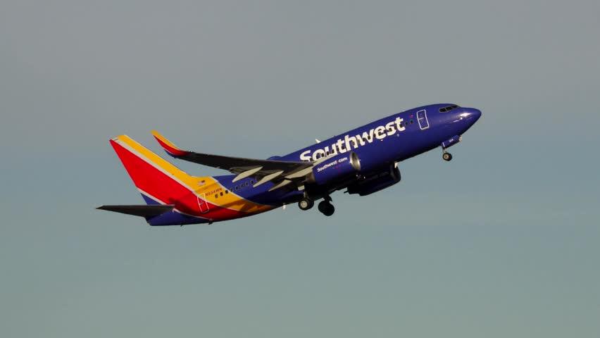 Southwest Airlines Boeing 737 plane take off departure, sound - Logan Airport Boston, Massachusetts USA - April 9, 2017