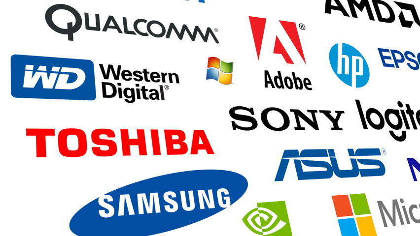 Editorial animation: major computer companies in 2017. Editorial use only. 3D rendering, bottom to top inclined variant, 4k UHD.
