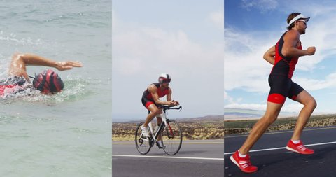 Triathlon - Triathlete man swimming, running and cycling in triathlon suit for ironman race. Composite of male triathlete doing crawl swim, biking on triathlon bike, and doing final run discipline.
