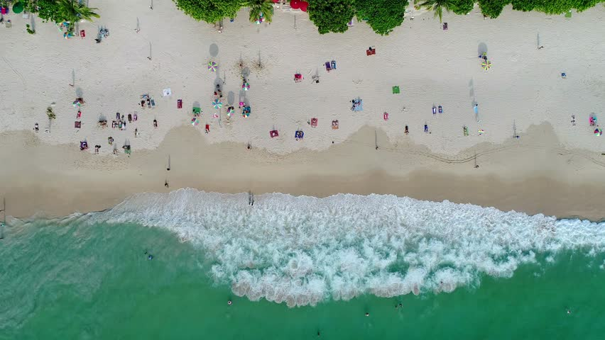 Top view Patong beach in Phuket province, southern of Thailand. Patong beach is a very famous tourist destination in Phuket. Aerial view from flying drone