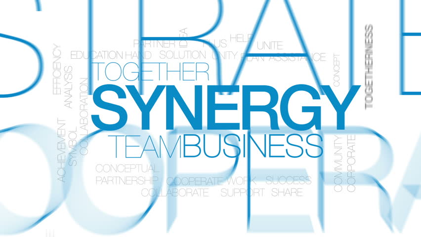 Synergy animated word cloud, text design animation. Kinetic typography.