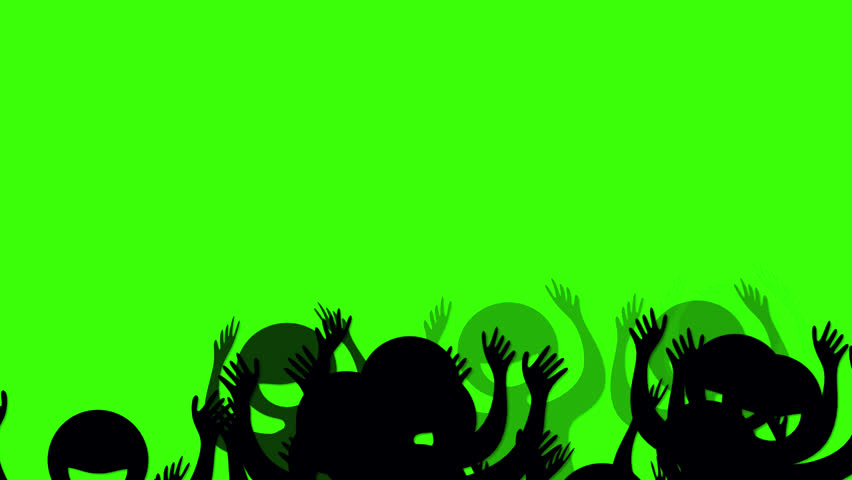 Seamless looped cheering crowd silhouette with green chroma key background. Use it to decorate your video project, commercial advertisement, birthday party, sports games or live music concerts.