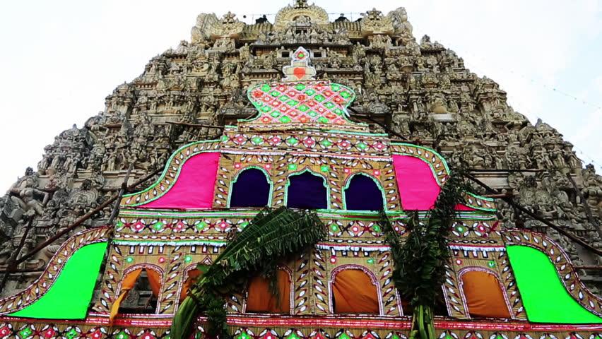 TAMIL NADU, INDIA - JUNE 2012: Tilt down shot of a temple, Ekambareswarar Temple, Kanchipuram, Tamil Nadu, India